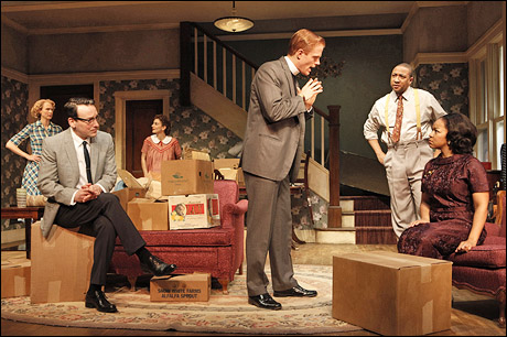 Christina Kirk, Jeremy Shamos, Annie Parisse, Brendan Griffin, Damon Gupton and Crystal A. Dickinson in the 2010 world premiere of Clybourne Park.   photo by Joan Marcus